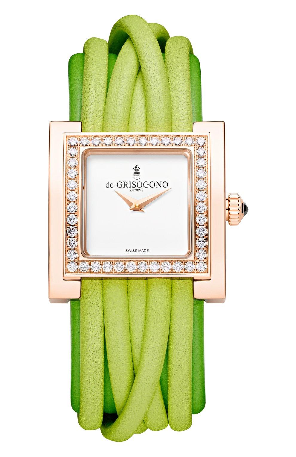 Женские часы rose gold diamonds DE GRISOGONO белого цвета, арт. ALLEGRA S08 | Фото 1
