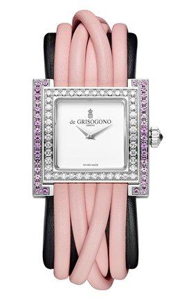 Женские часы white gold diamonds and pink sapphires DE GRISOGONO перламутрового цвета, арт. ALLEGRA S09 | Фото 1