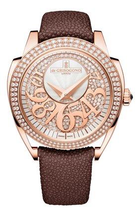 Женские часы rose gold diamond DE GRISOGONO серебряного цвета, арт. ECCENTRICA S03 | Фото 1