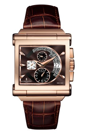 Мужские часы rose gold chrono DE GRISOGONO коричневого цвета, арт. GRANDE CHRONO N03 | Фото 1