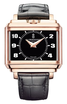 Мужские часы panoramic rose gold black DE GRISOGONO черного цвета, арт. NEW RETRO N02 | Фото 1