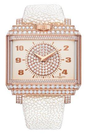 Женские часы rose gold diamonds DE GRISOGONO белого цвета, арт. NEW RETRO W S01 | Фото 1