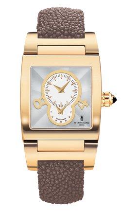 Женские часы dual time yellow gold DE GRISOGONO белого цвета, арт. TINO N02 AT | Фото 1
