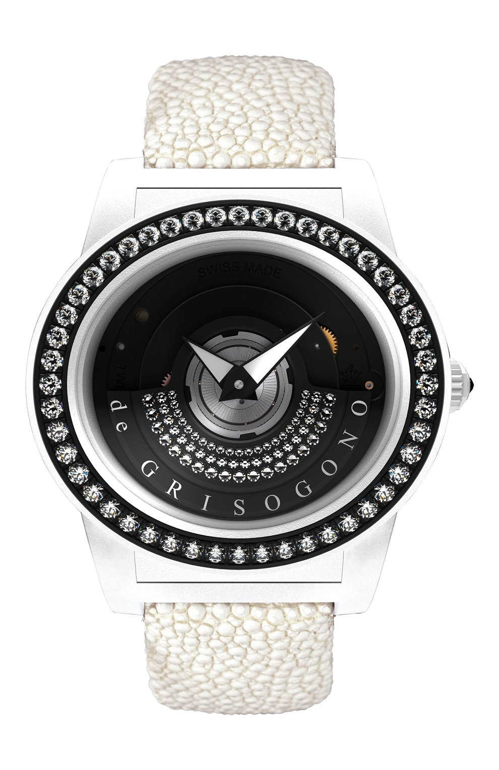 Женские часы white DE GRISOGONO черного цвета, арт. TONDO BY NIGHT S01 | Фото 1