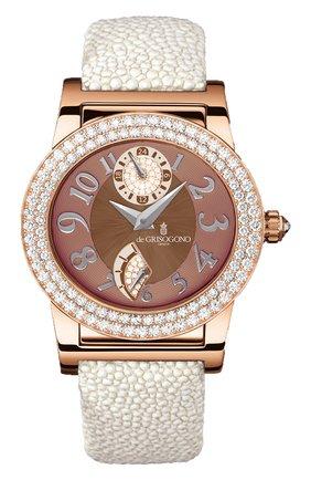 Женские часы rose gold diamonds DE GRISOGONO коричневого цвета, арт. TONDO RM S60 | Фото 1