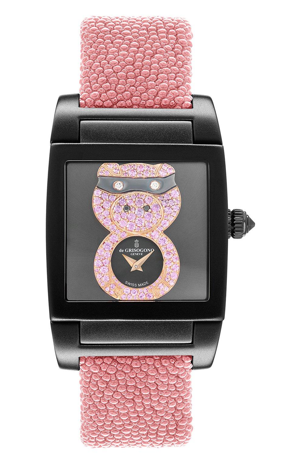 Женские часы uno crazymals piggy DE GRISOGONO черного цвета, арт. UNO CRAZYMALS N09   Фото 1
