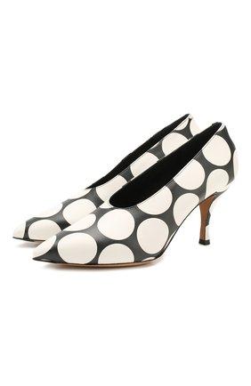 Женская кожаные туфли DRIES VAN NOTEN черно-белого цвета, арт. WS27/187/H80/QU510 | Фото 1
