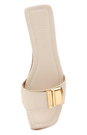 Женские кожаные сабо les tatanes JACQUEMUS белого цвета, арт. 201F005/78120   Фото 5