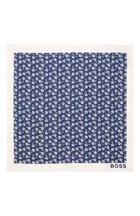 Мужской шелковый платок BOSS синего цвета, арт. 50434758 | Фото 3