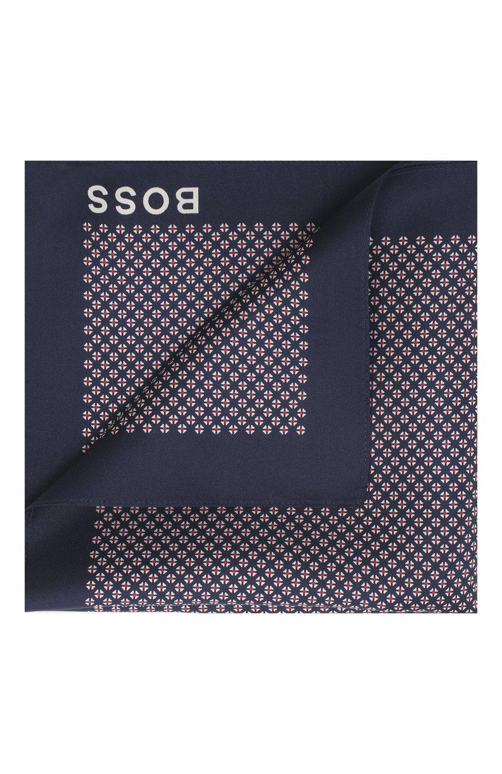 Мужской шелковый платок BOSS темно-синего цвета, арт. 50434750 | Фото 1