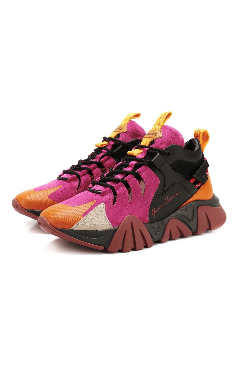 Мужские комбинированные кроссовки squalo hiker VERSACE разноцветного цвета, арт. DSU7886/DCRVIMG | Фото 1 (Материал внешний: Кожа; Материал внутренний: Натуральная кожа; Стили: Гранж; Подошва: Массивная)