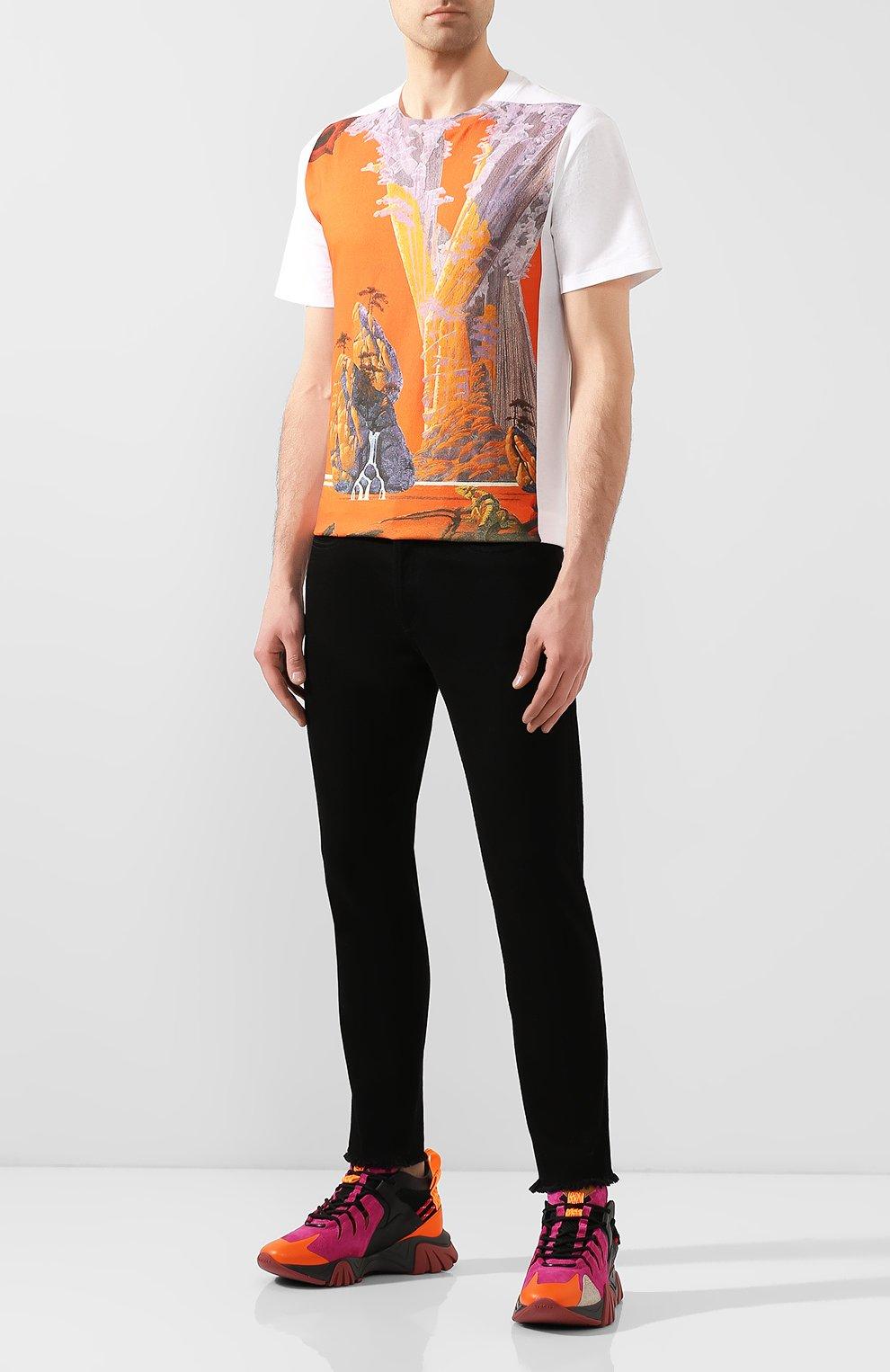 Мужские комбинированные кроссовки squalo hiker VERSACE разноцветного цвета, арт. DSU7886/DCRVIMG | Фото 2 (Материал внешний: Кожа; Материал внутренний: Натуральная кожа; Стили: Гранж; Подошва: Массивная)
