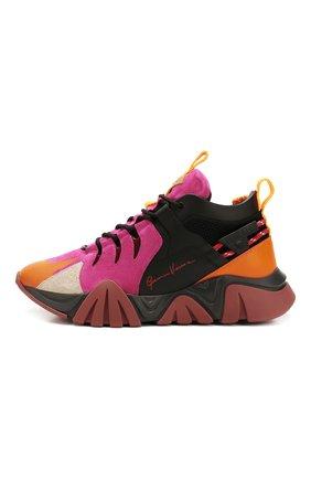 Мужские комбинированные кроссовки squalo hiker VERSACE разноцветного цвета, арт. DSU7886/DCRVIMG | Фото 3 (Материал внешний: Кожа; Материал внутренний: Натуральная кожа; Стили: Гранж; Подошва: Массивная)