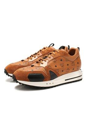 Мужские комбинированные кроссовки MCM коричневого цвета, арт. MEX ASMM35   Фото 1