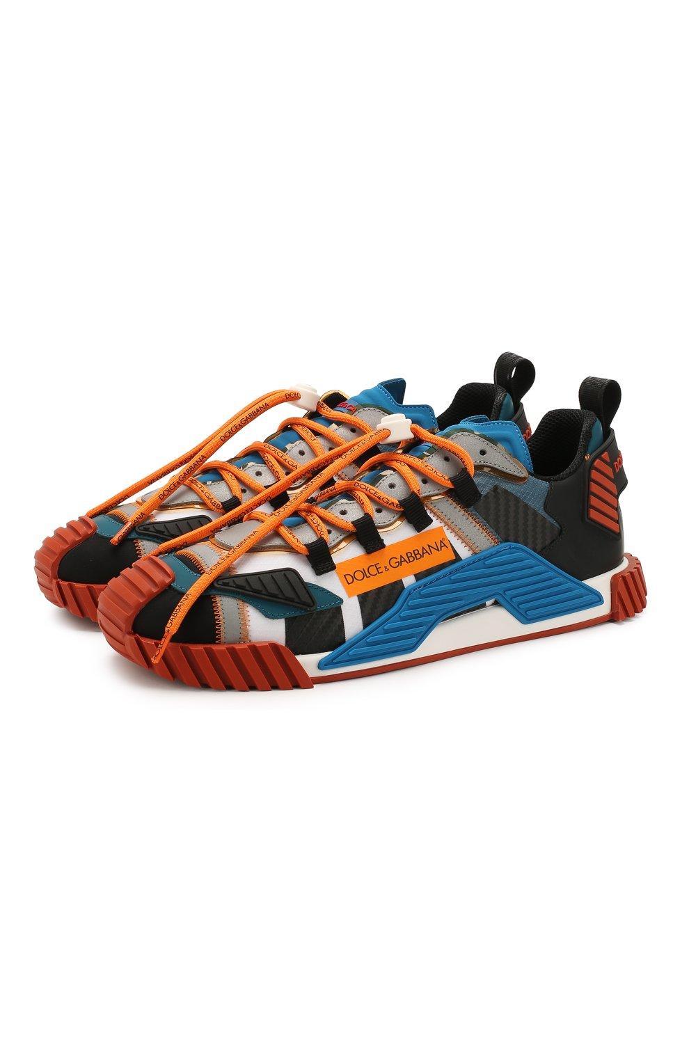 Мужские комбинированные кеды ns1 DOLCE & GABBANA оранжевого цвета, арт. CS1770/AJ982 | Фото 1