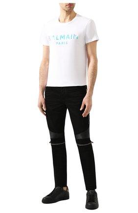 Мужская хлопковая футболка BALMAIN белого цвета, арт. TH01601/I309   Фото 2