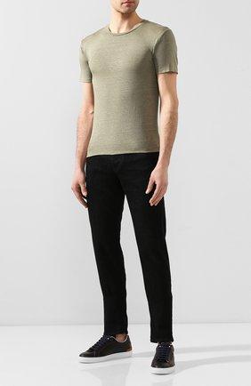 Мужская льняная футболка DANIELE FIESOLI хаки цвета, арт. DF 1235 | Фото 2