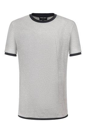 Мужская футболка из смеси хлопка и льна GIORGIO ARMANI серого цвета, арт. 3HST58/SJZQZ | Фото 1