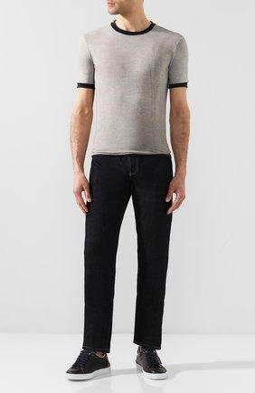 Мужская футболка из смеси хлопка и льна GIORGIO ARMANI серого цвета, арт. 3HST58/SJZQZ | Фото 2