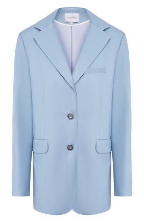 Женский кожаный жакет LESYANEBO голубого цвета, арт. SS20/Н-468/VL   Фото 1