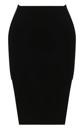 Женская юбка из вискозы RICK OWENS черного цвета, арт. R020S1688/KST   Фото 1
