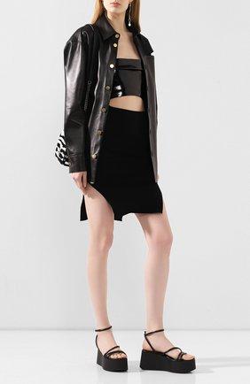 Женская юбка из вискозы RICK OWENS черного цвета, арт. R020S1688/KST   Фото 2