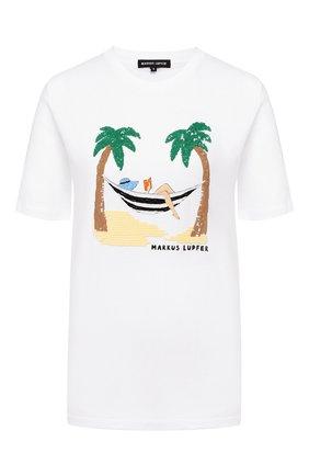 Женская хлопковая футболка MARKUS LUPFER белого цвета, арт. TEE405 | Фото 1