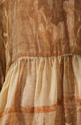 Женское шелковое платье UMA WANG бежевого цвета, арт. P0 W UW5008 | Фото 5 (Материал внешний: Шелк; Рукава: Короткие; Случай: Повседневный; Длина Ж (юбки, платья, шорты): Миди, До колена; Женское Кросс-КТ: Платье-одежда)