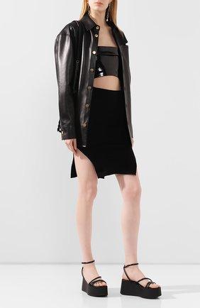 Женская кожаный топ ANN DEMEULEMEESTER черного цвета, арт. 2001-1831-286-099   Фото 2
