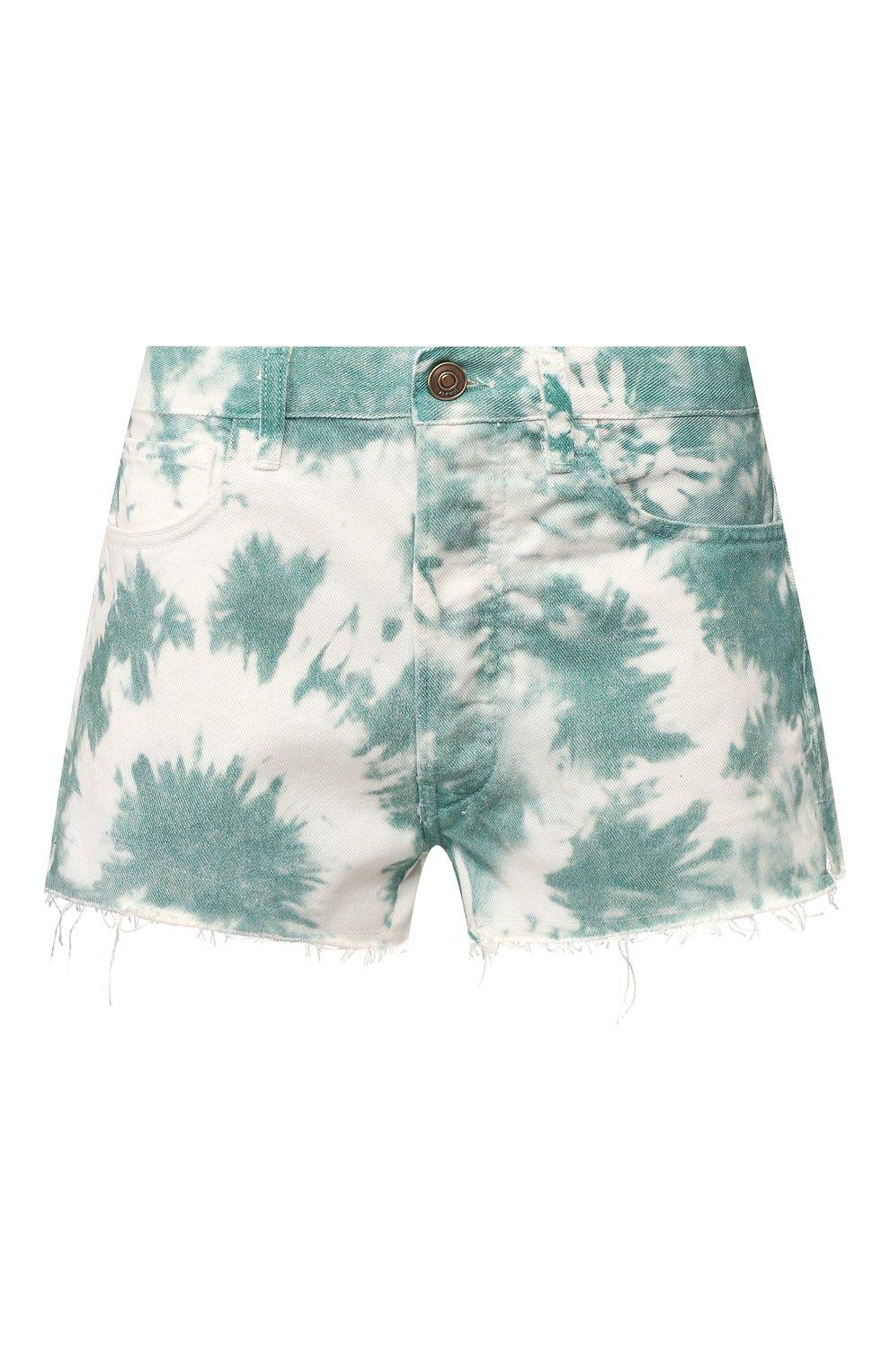 Женские джинсовые шорты ALANUI зеленого цвета, арт. LWYC001S20DEN002   Фото 1 (Женское Кросс-КТ: Шорты-одежда; Кросс-КТ: Деним; Длина Ж (юбки, платья, шорты): Мини; Материал внешний: Хлопок; Стили: Кэжуэл)