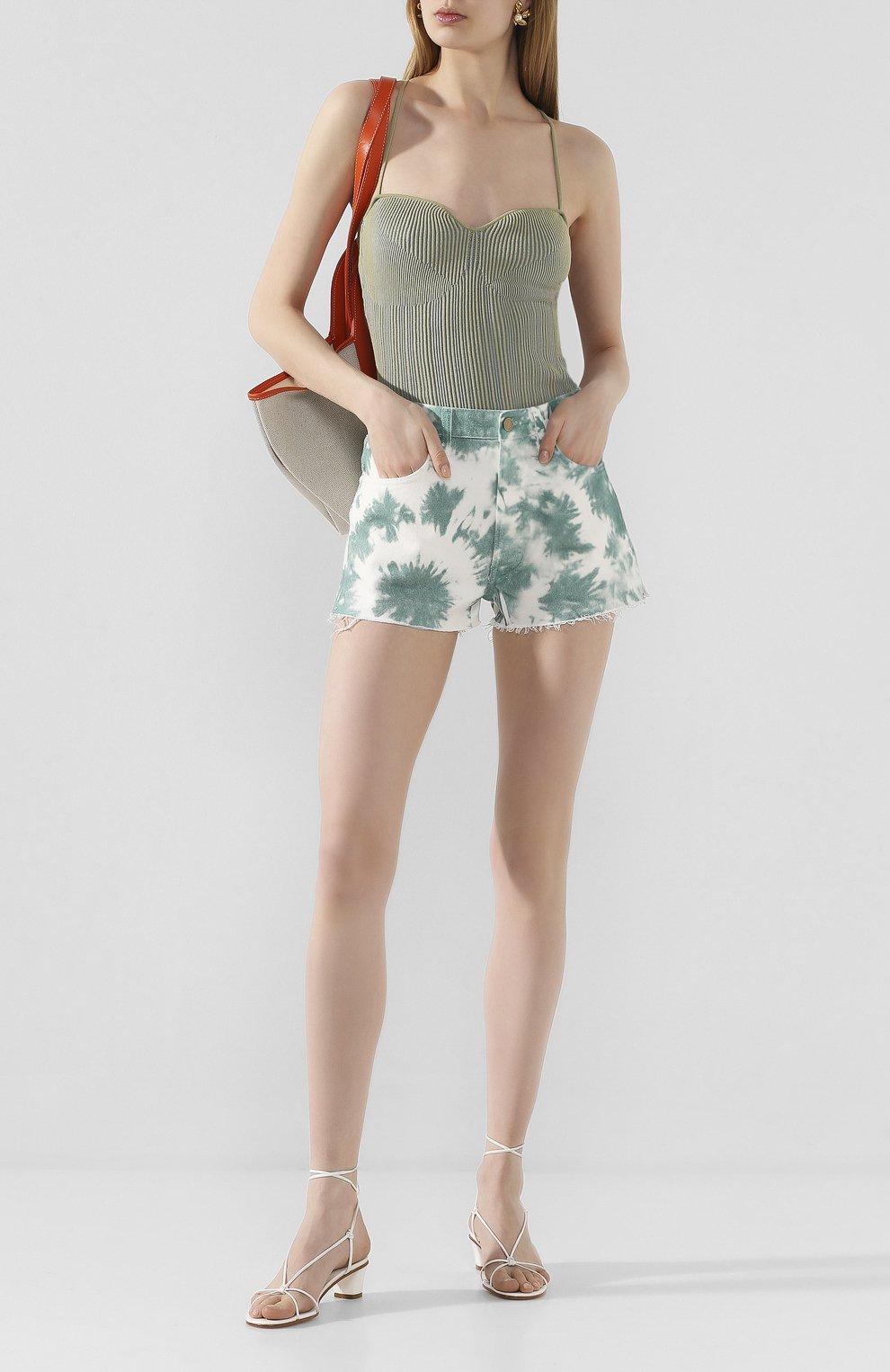 Женские джинсовые шорты ALANUI зеленого цвета, арт. LWYC001S20DEN002   Фото 2 (Женское Кросс-КТ: Шорты-одежда; Кросс-КТ: Деним; Длина Ж (юбки, платья, шорты): Мини; Материал внешний: Хлопок; Стили: Кэжуэл)