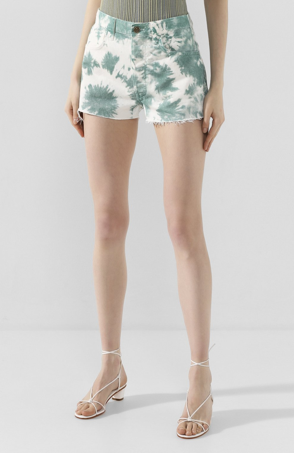 Женские джинсовые шорты ALANUI зеленого цвета, арт. LWYC001S20DEN002   Фото 3 (Женское Кросс-КТ: Шорты-одежда; Кросс-КТ: Деним; Длина Ж (юбки, платья, шорты): Мини; Материал внешний: Хлопок; Стили: Кэжуэл)