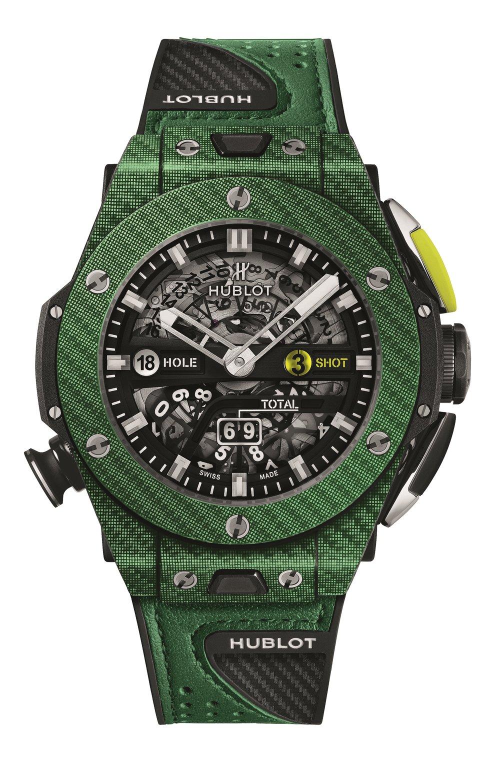 Мужские часы big bang unico golf green carbon HUBLOT черного цвета, арт. 416.YG.5220.VR | Фото 1