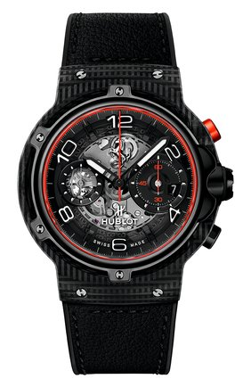Мужские часы classic fusion ferrari gt 3d carbon HUBLOT черного цвета, арт. 526.QB.0124.VR | Фото 1