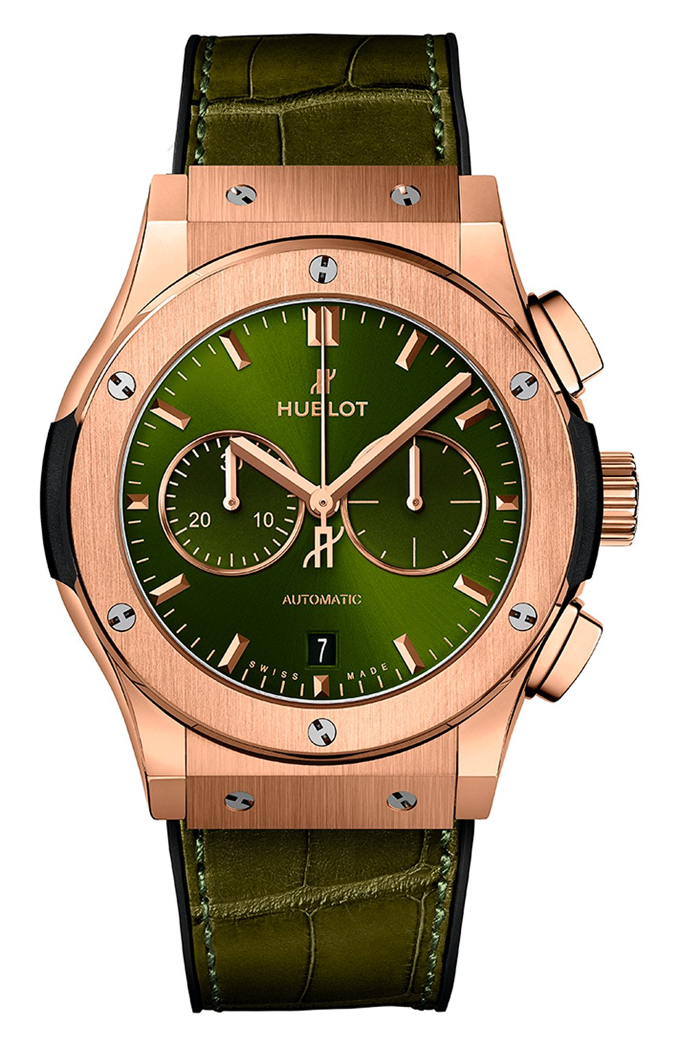 Мужские часы classic fusion chronograph king gold green HUBLOT зеленого цвета, арт. 541.OX.8980.LR | Фото 1