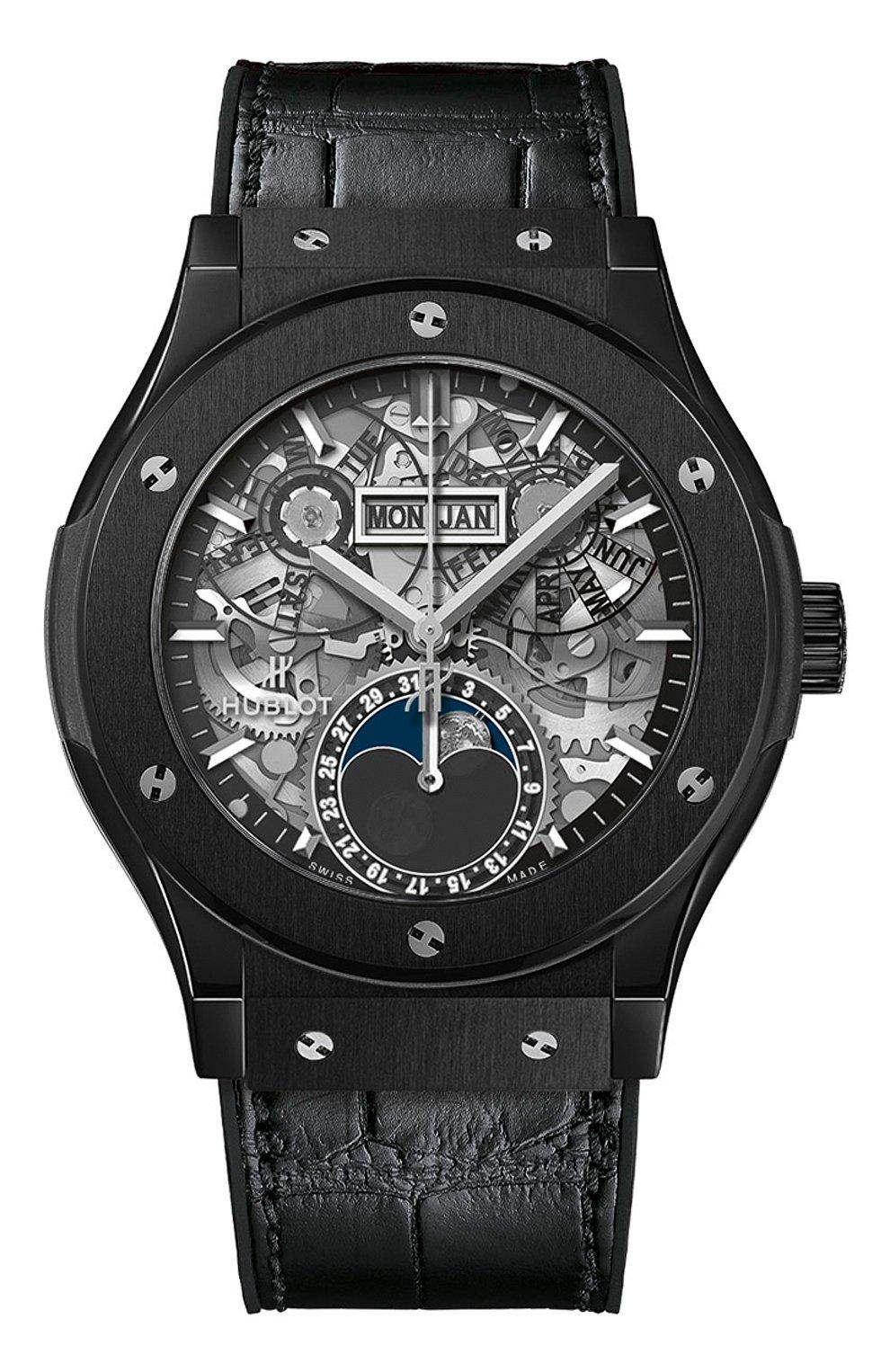 Мужские часы classic fusion aerofusion moonphase black magic HUBLOT черного цвета, арт. 547.CX.0170.LR | Фото 1