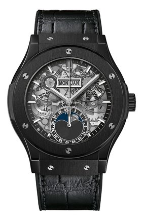 Мужские часы classic fusion aerofusion moonphase black magic HUBLOT черного цвета, арт. 547.CX.0170.LR | Фото 1