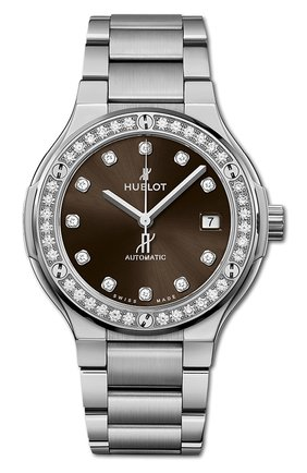 Женские часы classic fusion titanium brown diamonds bracelet HUBLOT коричневого цвета, арт. 568.NX.897M.NX.1204 | Фото 1
