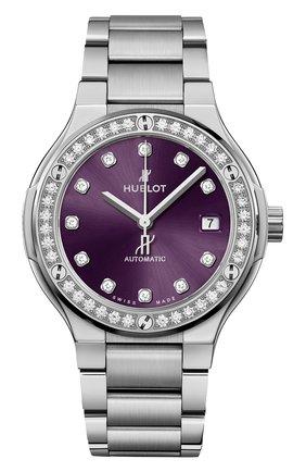 Женские часы classic fusion titanium purple diamonds bracelet HUBLOT фиолетового цвета, арт. 568.NX.897V.NX.1204 | Фото 1