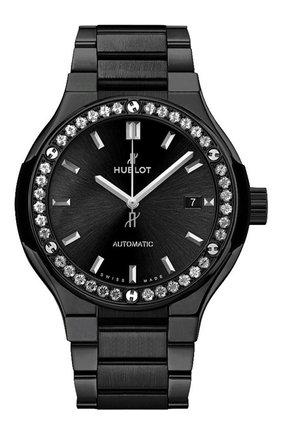 Женские часы classic fusion ceramic black bracelet diamonds HUBLOT черного цвета, арт. 585.CM.1470.CM.1204 | Фото 1