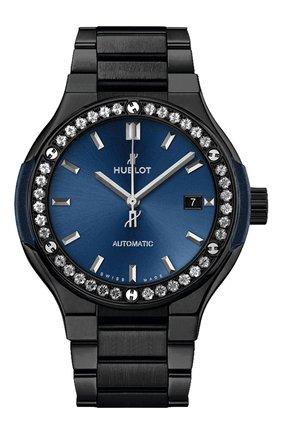 Женские часы classic fusion ceramic blue bracelet diamonds HUBLOT синего цвета, арт. 585.CM.7170.CM.1204 | Фото 1