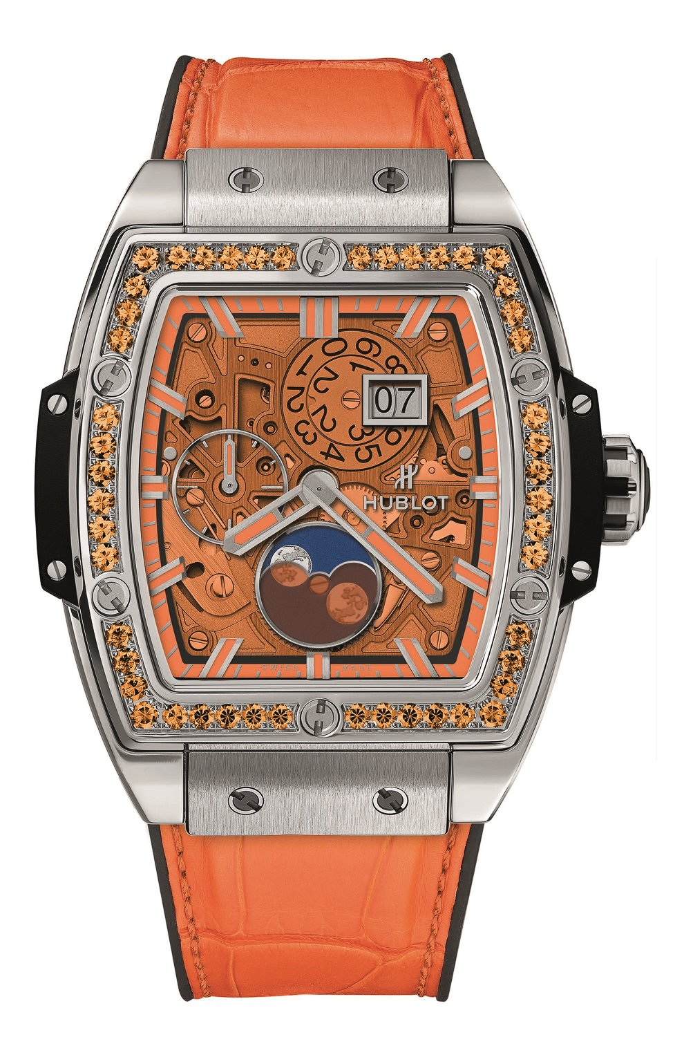 Женские часы spirit of big bang moonphase titanium orange HUBLOT оранжевого цвета, арт. 647.NX.5371.LR.1206 | Фото 1