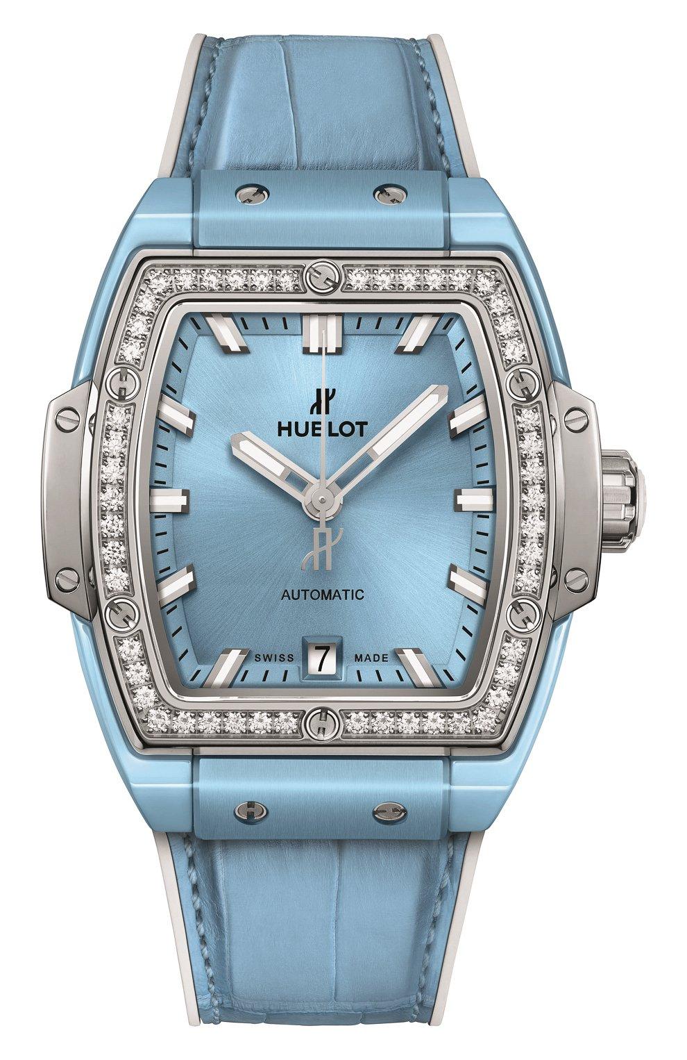 Женские часы spirit of big bang light blue ceramic titanium diamonds HUBLOT голубого цвета, арт. 665.EN.891L.LR.1204 | Фото 1