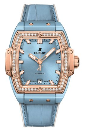 Женские часы spirit of big bang light blue ceramic king gold diamonds HUBLOT голубого цвета, арт. 665.EO.891L.LR.1204 | Фото 1