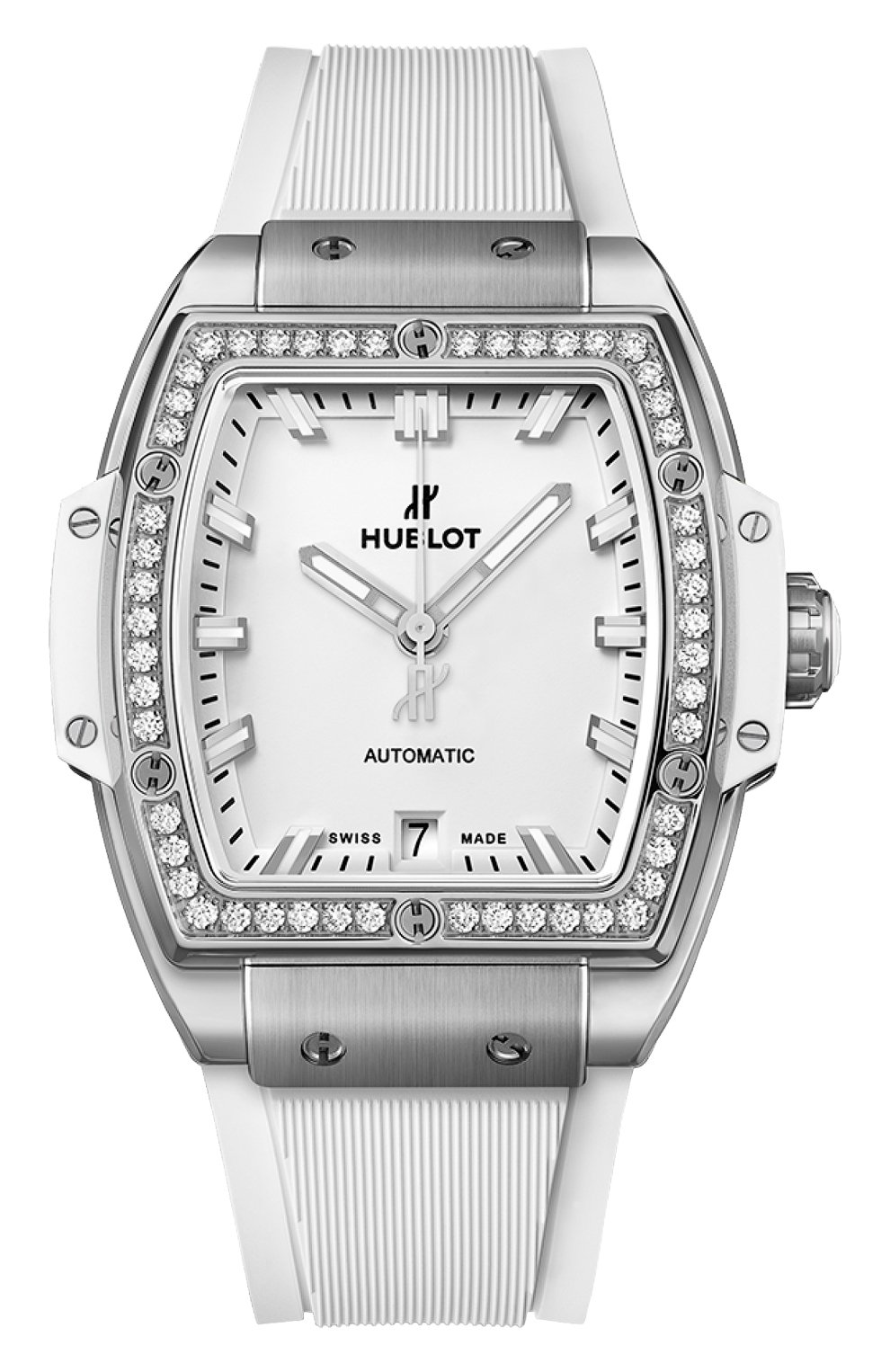 Женские часы big bang titanium white diamonds HUBLOT белого цвета, арт. 665.NE.2010.RW.1204   Фото 1