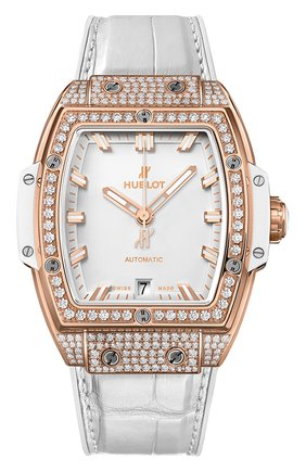 Женские часы big bang king gold white pave HUBLOT белого цвета, арт. 665.OE.2080.LR.1604 | Фото 1