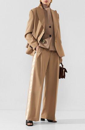 Женские шерстяные брюки SACAI бежевого цвета, арт. 20-04824 | Фото 2