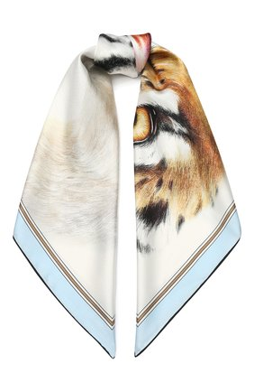 Женский шелковый платок BURBERRY голубого цвета, арт. 8027558 | Фото 1