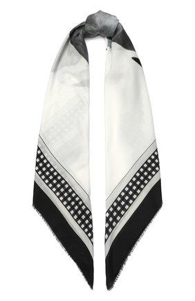 Женская шаль из смеси хлопка и шелка BURBERRY белого цвета, арт. 8029392 | Фото 1