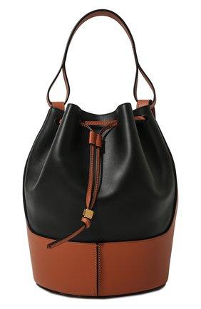 Женская сумка balloon LOEWE черного цвета, арт. 326.76AC30 | Фото 1 (Материал: Натуральная кожа; Размер: medium; Ремень/цепочка: На ремешке; Сумки-технические: Сумки через плечо, Сумки top-handle)